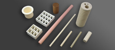 Ceramic insulators for heaters, crucibles and heat-resistant parts